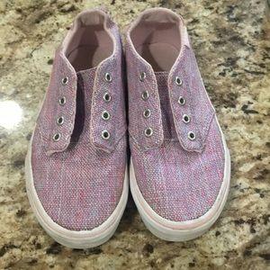 Vans kids size 13 pink blue weave material